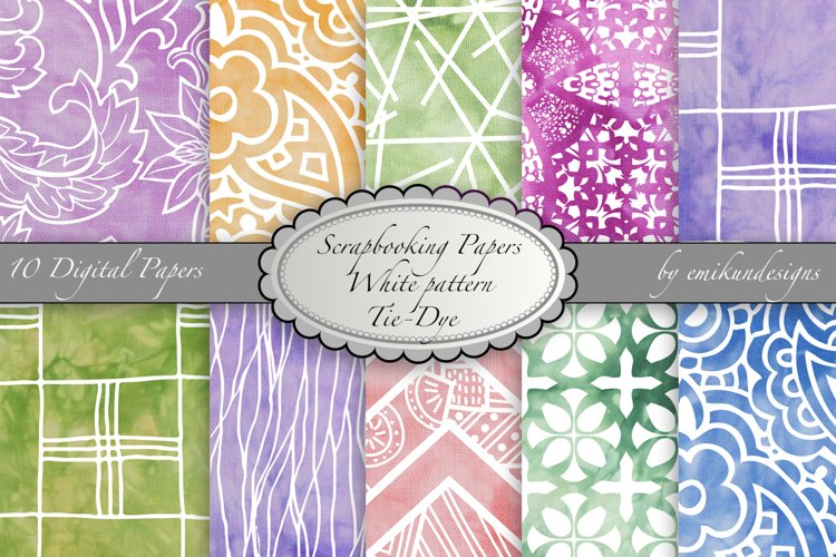 Scrapbook paper real tie-dye with white printed pattern