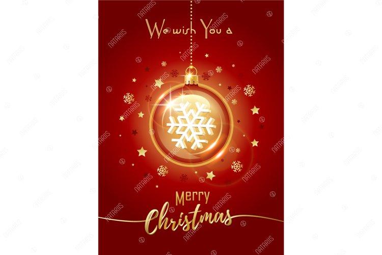 Merry Christmas greeting card. Christmas crystal ball. example image 1