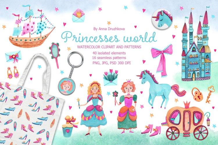 Princesses World Watercolor Clipart