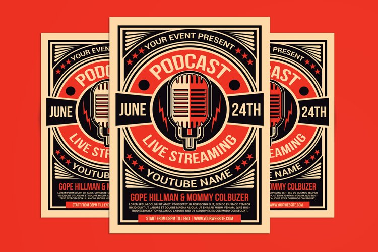 Talk Show Podcast Flyer Template
