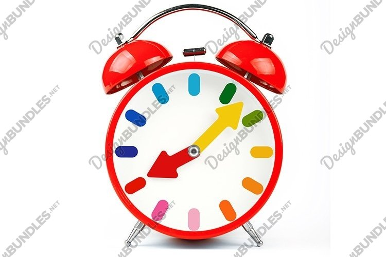 One Red Alarm Clock over White example image 1