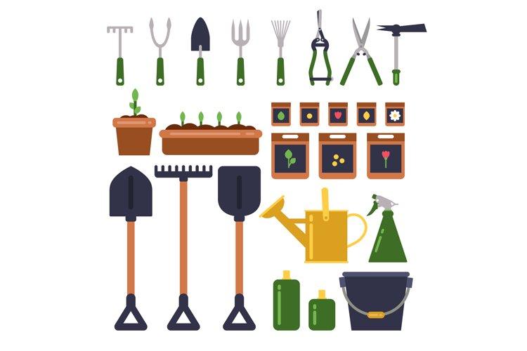Gardening tools isolate on white background. Vector illustra example image 1