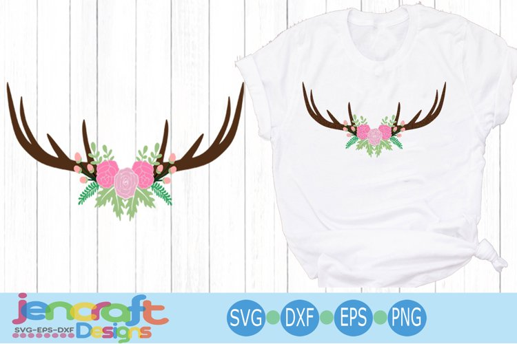 Antler Rose Swag hunting svg EPS, DXF, PNG