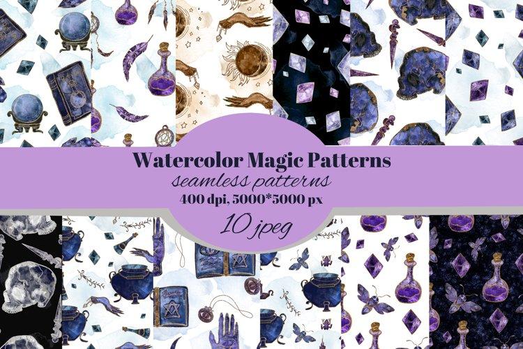 Magic, Witchcraft, Spiritual watercolor seamless pattern.