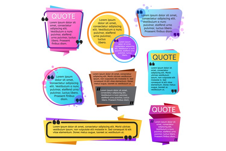 Various modern quote shapes vector set