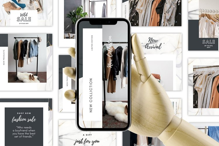 Marble Instagram Canva Templates, Posts and Stories