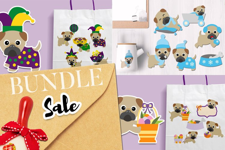 Holidays Pug Dogs Illustrations Bundle