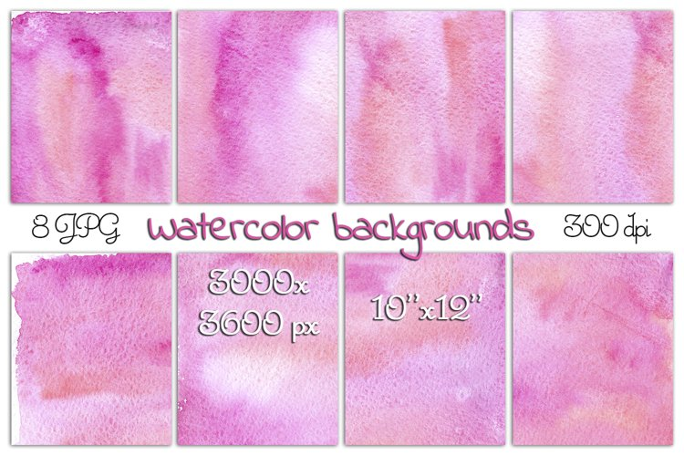 Colorful abstract watercolor backgrounds in pink 8 JPG Files example image 1