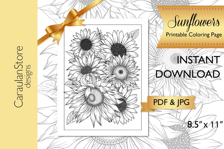 Floral Coloring Book Page, Sunflower Coloring Page, JPG, PDF
