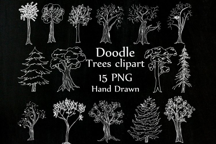 Chalkboard Trees clipart example image 1