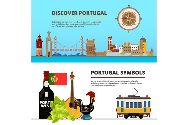 Banners set with illustrations of portuguese cultural object example image 1