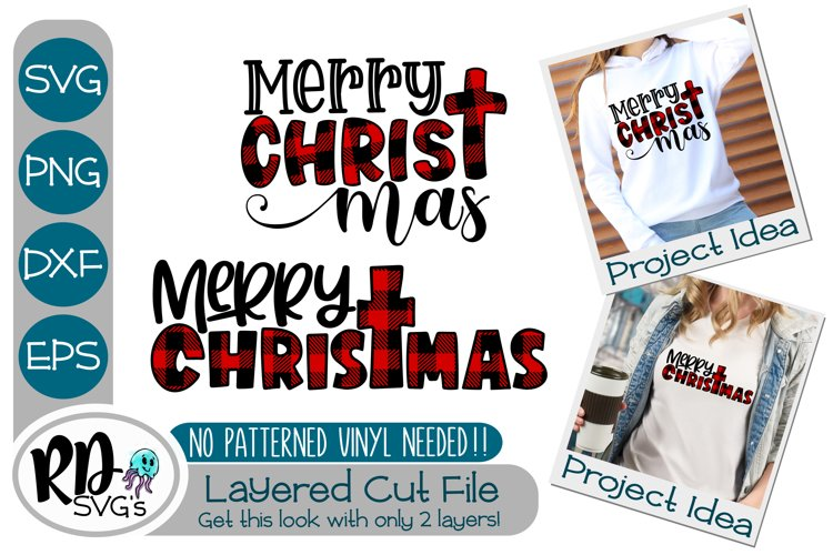 Merry Christmas - A Religious Plaid Layered Cut File example image 1