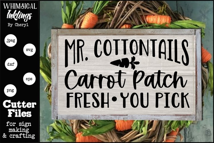 Mr Cottontails carrot Patch SVG example