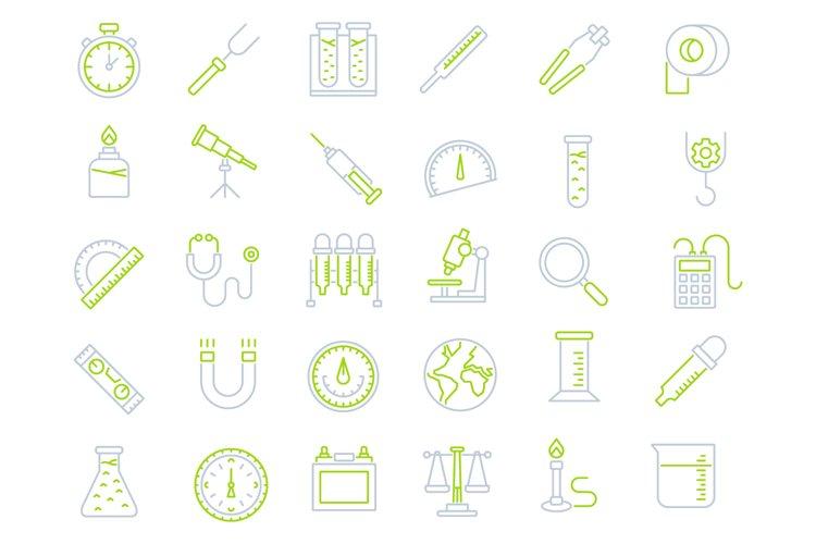 Laboratory equipment icons set example image 1