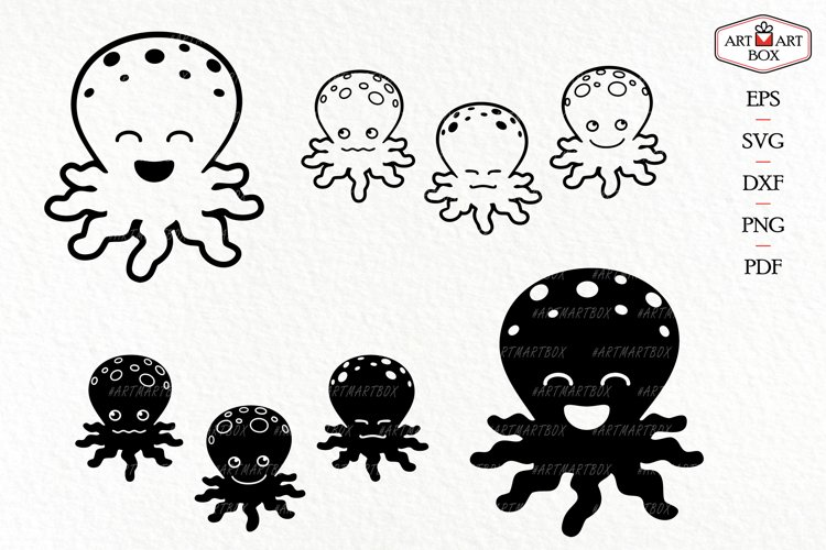 Set of four cute octopuses.