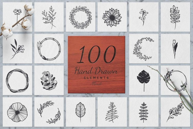 100 Hand Drawn Elements -Floral- example image 1