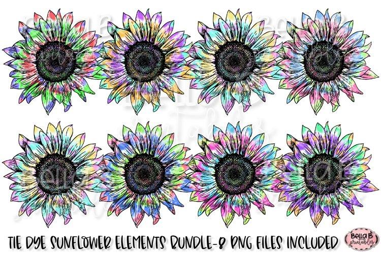 Tie Dye Sunflower Sublimation Elements Bundle example image 1