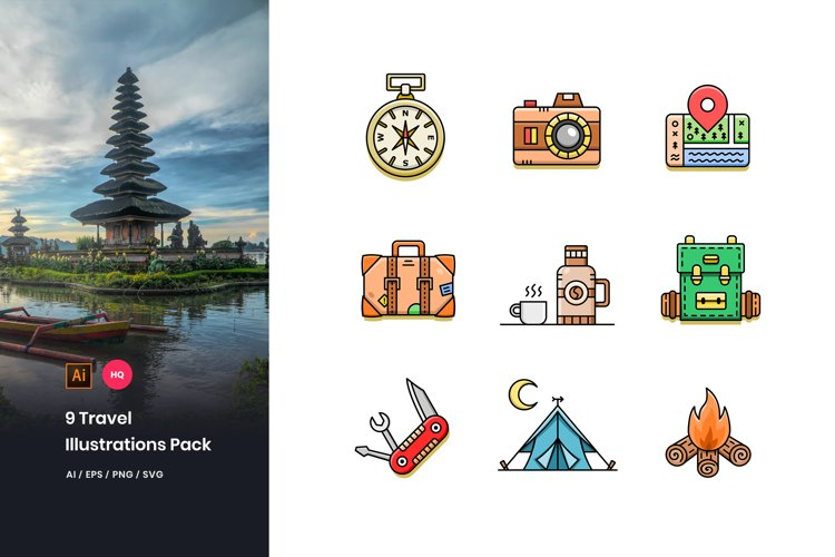 9 Travel Illustrations Pack example image 1