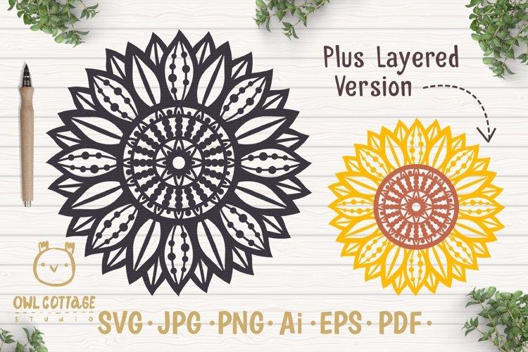 Sunflower Zentangle svg, Sunflower svg, Sunflower Monogram example image 1