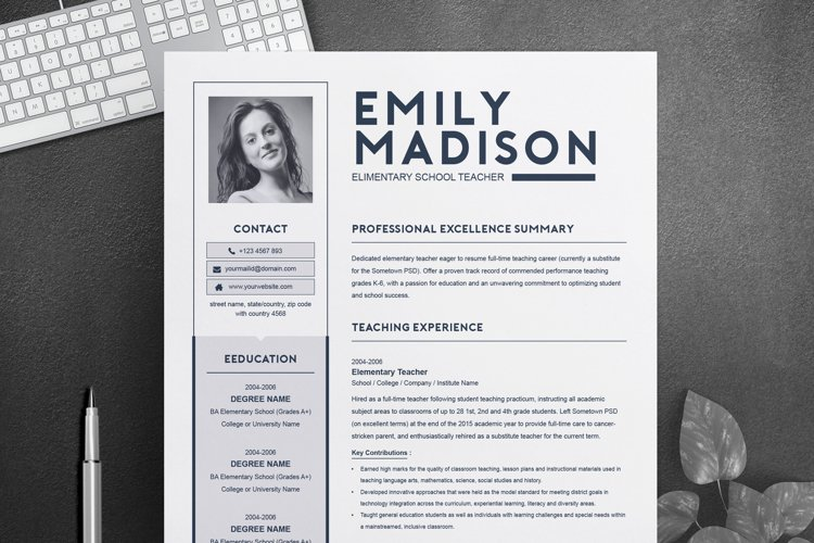 TEACHER Resume Template for MS Word | 2 Page Resume example image 1