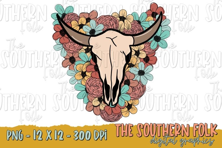 Boho Floral Skull, Western PNG File, Sublimation Design