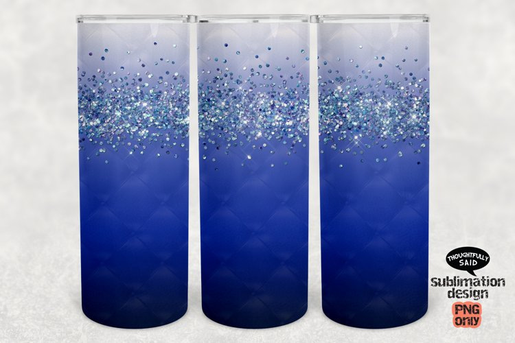 Ombre Blue Glitter 20 oz Skinny Tumbler SUBLIMATION png file example image 1