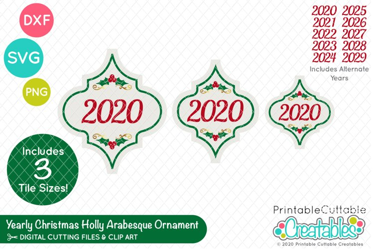 Yearly Christmas Holly Arabesque Tile Ornament SVG Files example image 1