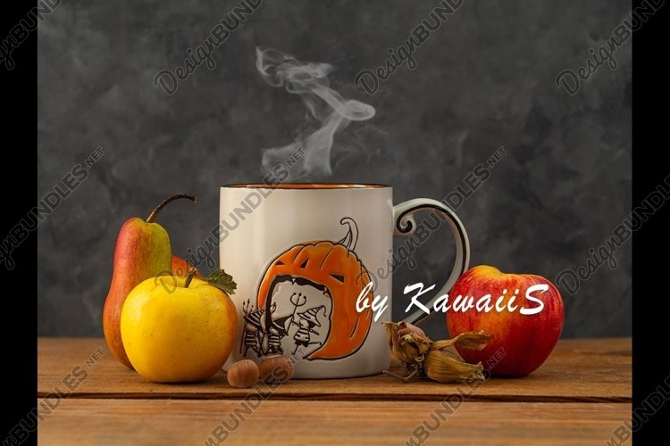 Happy Halloween composition steaming coffee cup, fruits,nuts