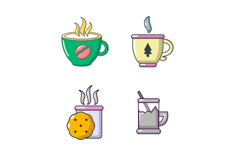 Tea cups icon set, cartoon style example image 1