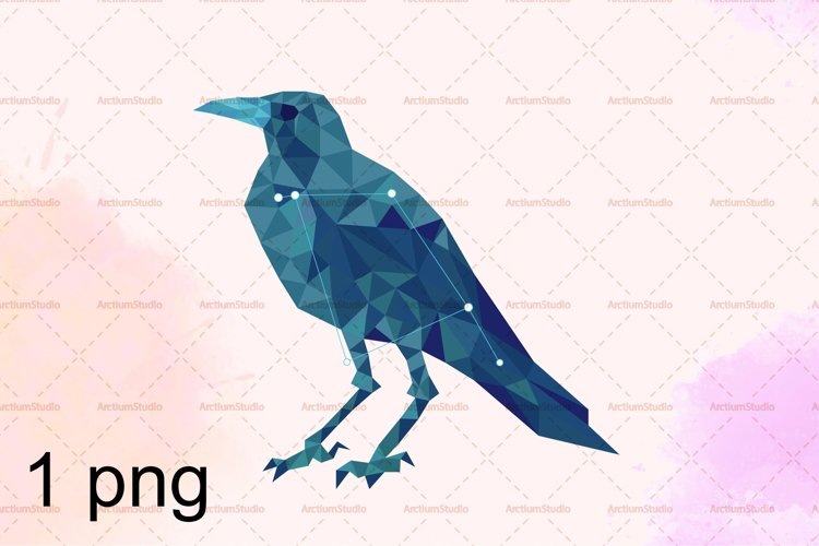 Corvus - the raven constellation, starry sky animal art