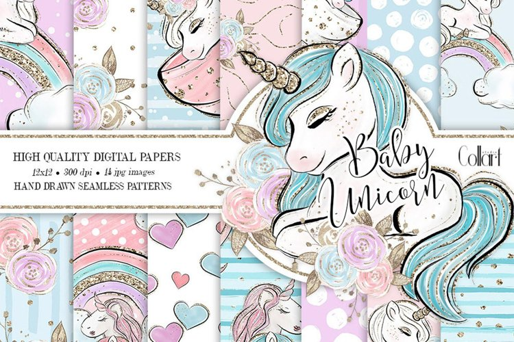 Unicorn Digital Paper, Unicorn Backdrop, Seamless Papers example image 1