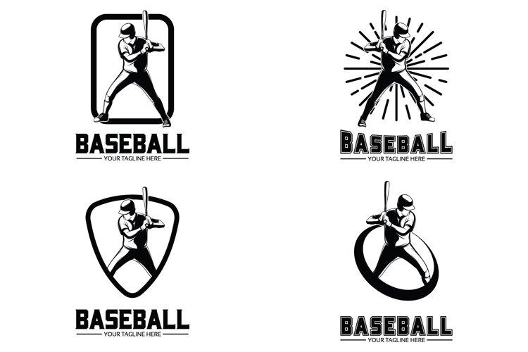 Baseball player logo vector design illustration example image 1