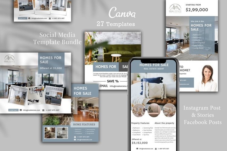 Real Estate Instagram, 27 Posts, Canva example image 1