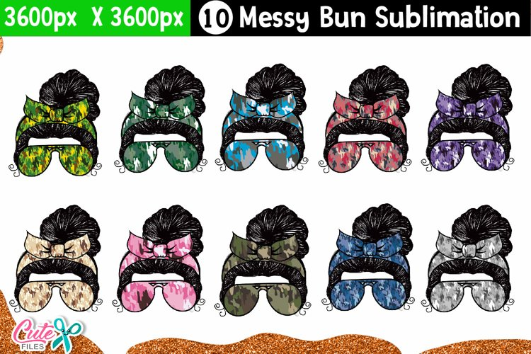 Messy bun with camo- Mother's day sublimation design example image 1
