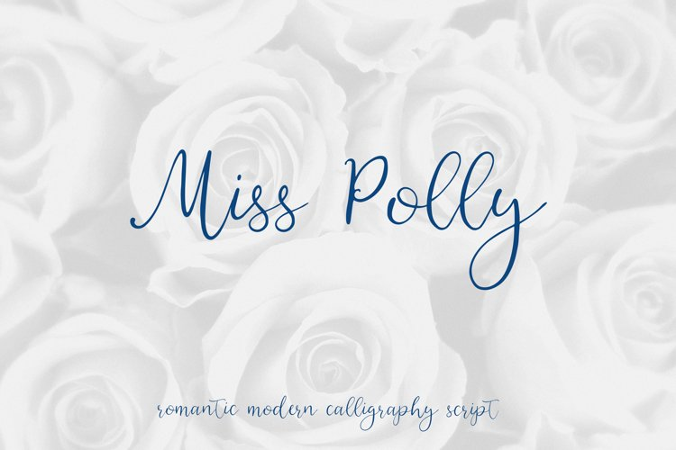 Miss Polly, romantic modern calligraphy script example image 1