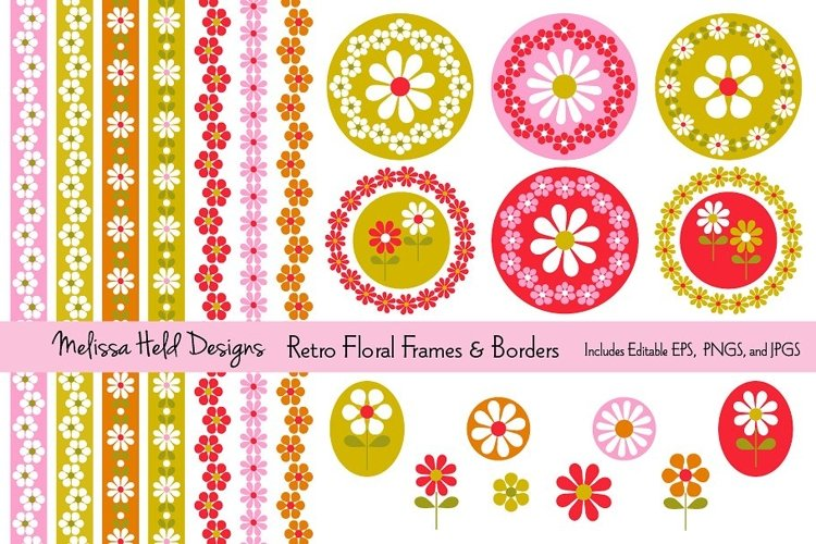 Retro Floral Frames and Borders example image 1