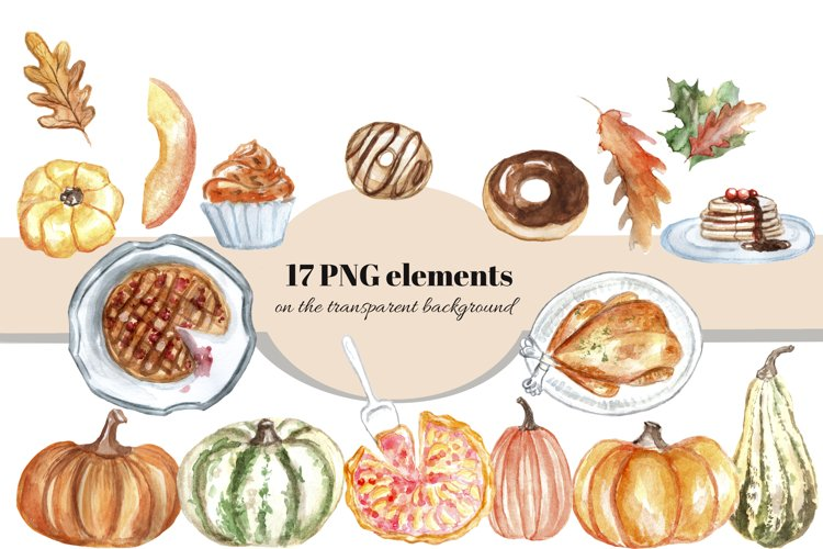 Autumn watercolor clipart set. Thanksgiving day cards. example 3