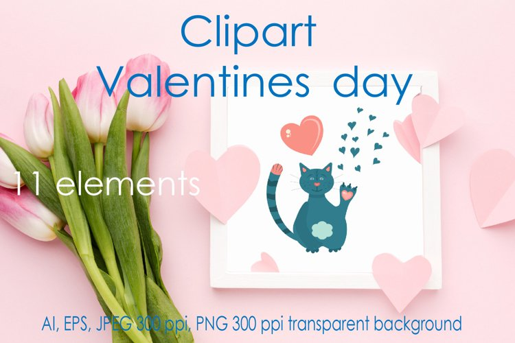 Valentines day vector clipart, cute animals. example image 1