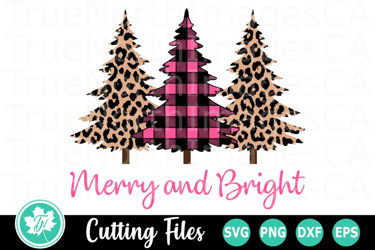Merry And Bright Pink Trees A Christmas Svg Cut File 383412 Cut Files Design Bundles