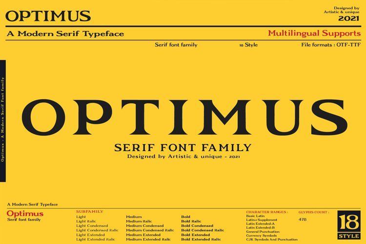 Optimus - Serif font family example image 1