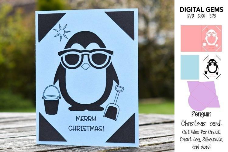 Cricut Joy Card! Penguin Beach Christmas card design!
