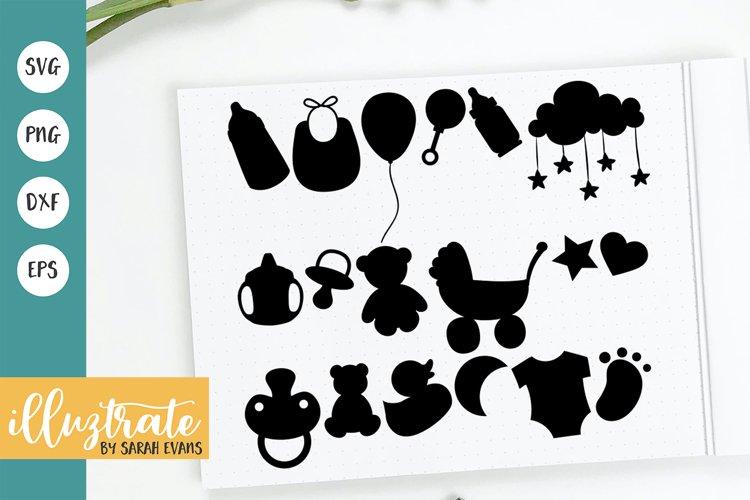 Baby SVG Bundle |Baby Bib SVG | Baby Bottle SVG |Dummy SVG example image 1