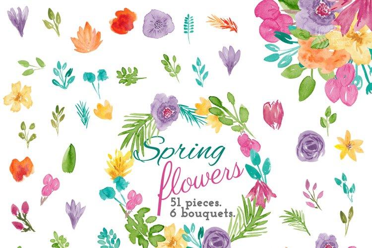 Spring Flower Watercolor Clip Art
