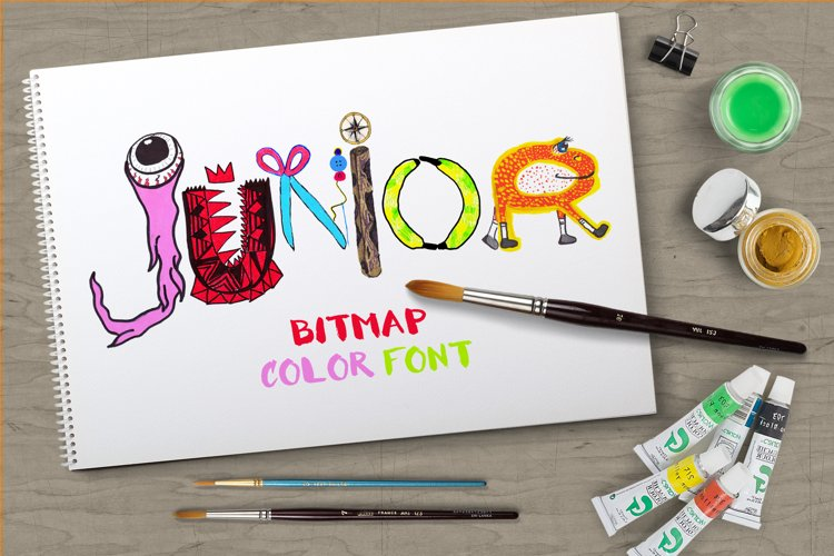 Junior bitmap color font example image 1