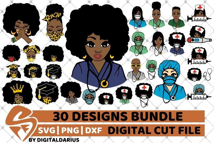 30x Amazing Nurse Bundle svg, Healthcare svg, Black History example image 1