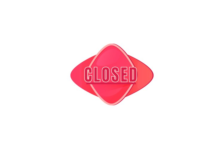 Closed pink vector board sign illustration example image 1