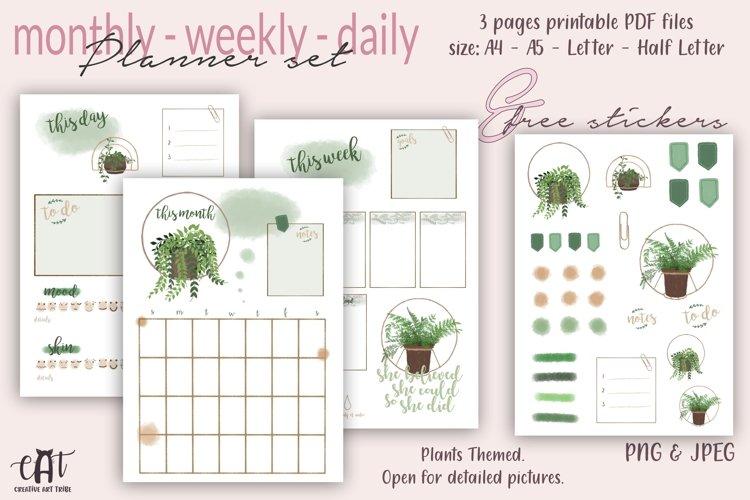 Printable Planner plus Free Stickers, Plants Planner, PDF example image 1