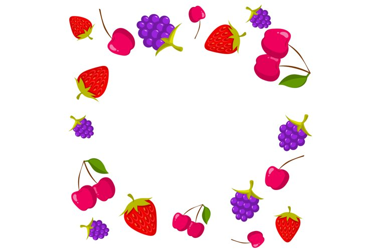 Berries frame on white background with place for text example image 1