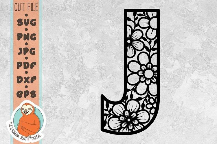 Flower Filled Letter J SVG - Floral Letter Cut File