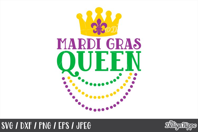 Mardi Gras Queen, Beads, Funny, SVG DXF PNG, Cricut Cut File